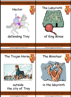 greek gods flash cards