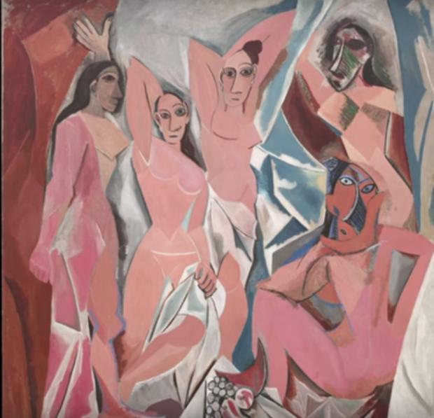 "Госпожиците от Авиньон"" (""Les Demoiselles d'Avignon"") - Пикасо източник: How ancient art influenced modern art - Felipe Galindo/TED-Ed/YouTube"